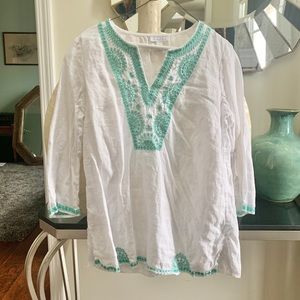 Charter Club white linen embroidered tunic top M